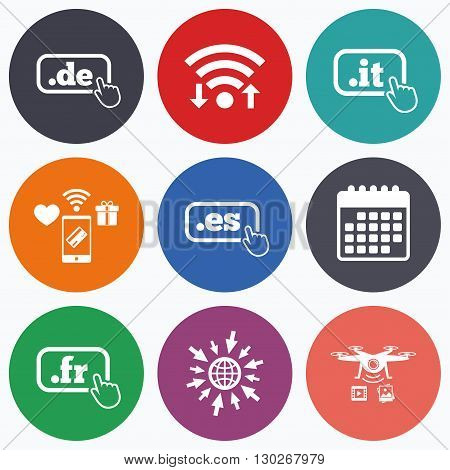 Wifi, mobile payments and drones icons. Top-level internet domain icons. De, It, Es and Fr symbols with hand pointer. Unique national DNS names. Calendar symbol.