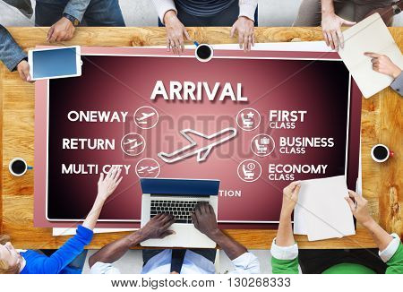 Arrival Oneway Airplane Boarding Booking Concept