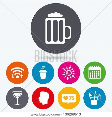 Wifi, like counter and calendar icons. Drinks icons. Take away coffee cup and glass of beer symbols. Wine glass and cocktail signs. Human talk, go to web.