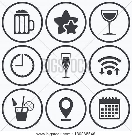 Clock, wifi and stars icons. Alcoholic drinks icons. Champagne sparkling wine with bubbles and beer symbols. Wine glass and cocktail signs. Calendar symbol.