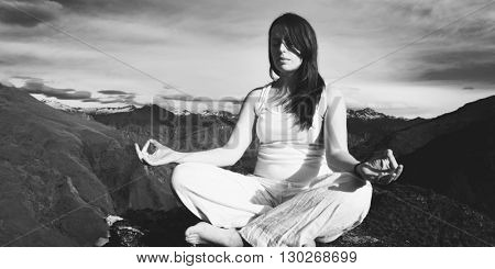 Young Woman Meditating Wilderness Beautiful Mountain Concept