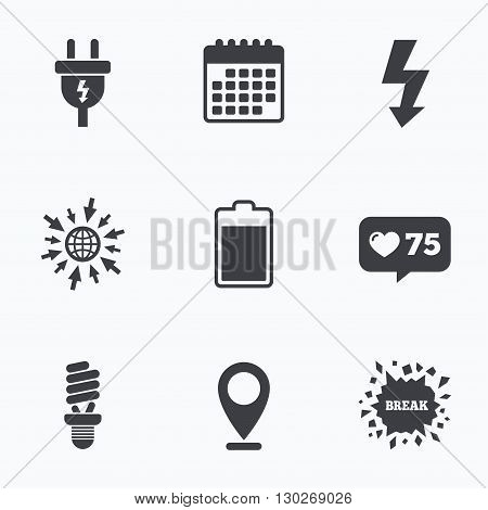 Calendar, like counter and go to web icons. Electric plug icon. Fluorescent lamp and battery symbols. Low electricity and idea signs. Location pointer.