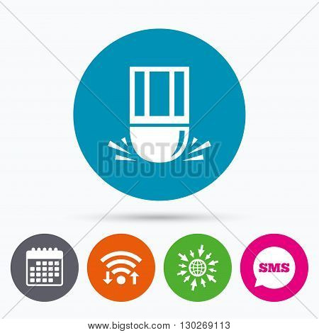 Wifi, Sms and calendar icons. Eraser icon. Erase pencil line symbol. Correct or Edit drawing sign. Go to web globe.