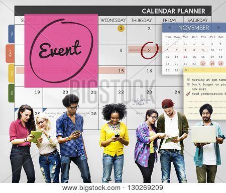 Event Celebration Occasion Happening Schedule Concept