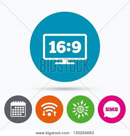 Wifi, Sms and calendar icons. Aspect ratio 16:9 widescreen tv sign icon. Monitor symbol. Go to web globe.