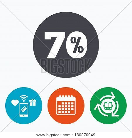 70 percent discount sign icon. Sale symbol. Special offer label. Mobile payments, calendar and wifi icons. Bus shuttle.