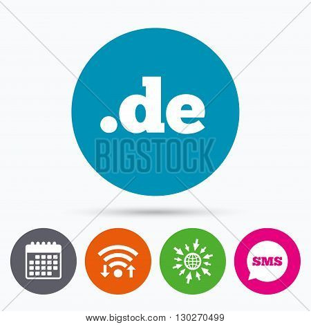 Wifi, Sms and calendar icons. Domain DE sign icon. Top-level internet domain symbol. Go to web globe.