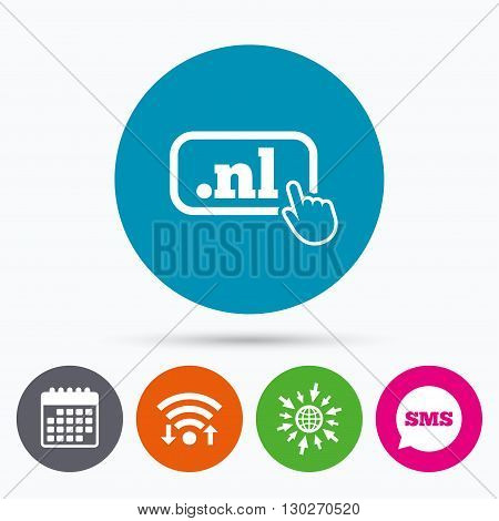 Wifi, Sms and calendar icons. Domain NL sign icon. Top-level internet domain symbol with hand pointer. Go to web globe.