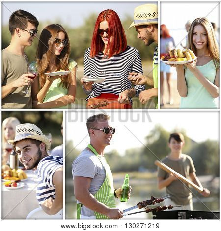 Collage of young people on picnic