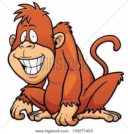 Vector illustration of Cartoon Monkey character design