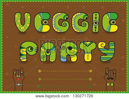 Inscription Veggie Party. Funny green Letters with bright parts