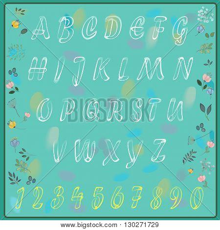 Elegance white alphabet with floral background. Vector illustration