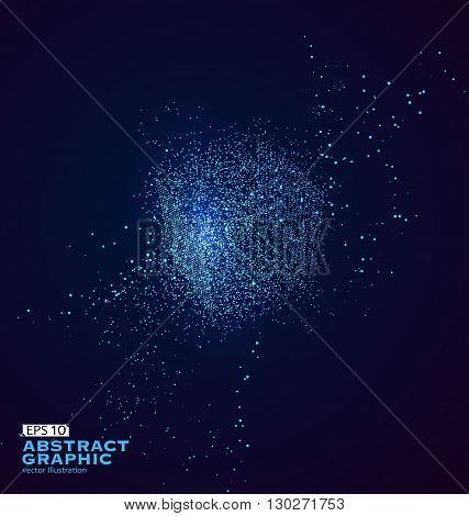 Particle abstract squares vector illustration sense of technology.