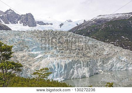 Looking down on the Pia Glacier in Tierra del Fuego of Chile
