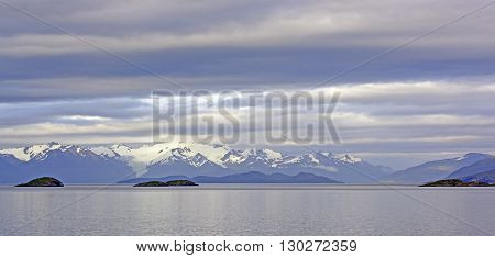 Morning Clouds in the Beagle Channel in Tierra del Fuego in Chile