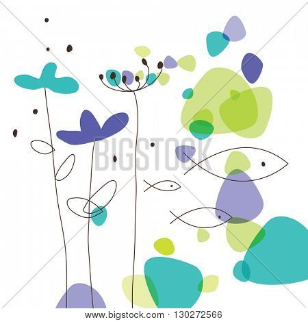 Floral greeting card with copy space