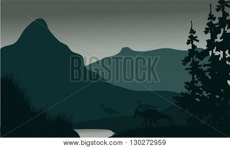 Silhouette of parasaurolophus in river with green backgrounds