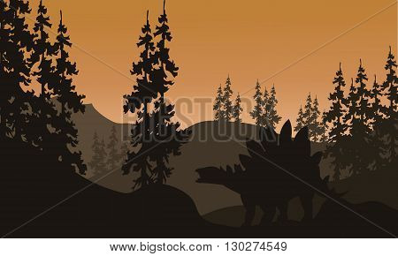 Silhouette of stegosaurus and spruce with brown backgrounds