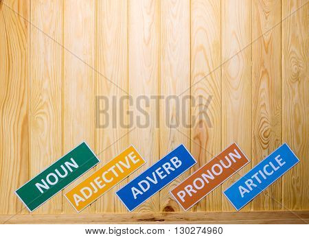 brown wooden board with english words for background