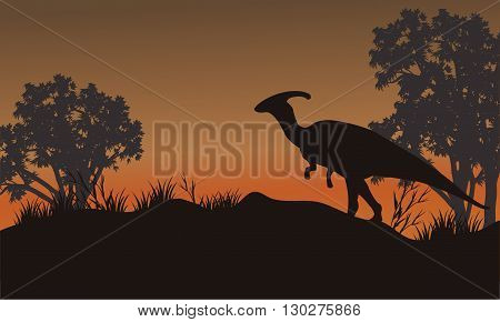 Silhouette of one parasaurolophus in hills beautiful scenery