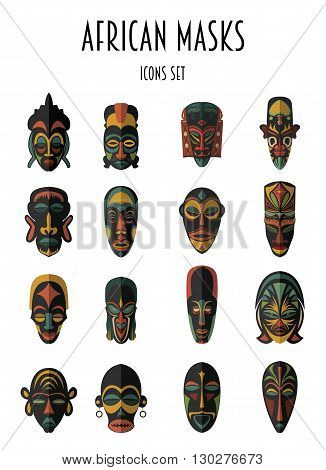 Set of African Ethnic Tribal masks on white background. Flat icons. Ritual symbols.
