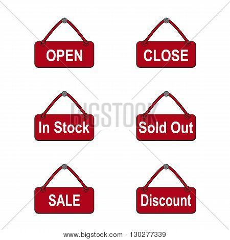 Commerce shop icon. Open Close In Stock Sold Out Sale and Discount sign for online shop