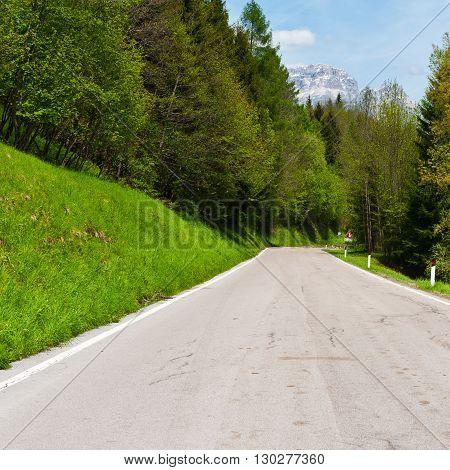 Winding Asphalt Road in the Italian Alps