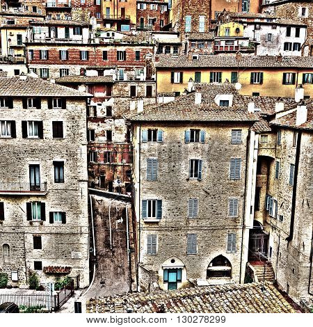 View to Historic Center City of Perugia in Italy