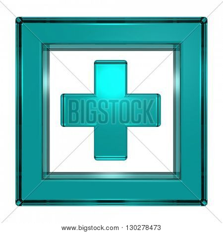 Blue cross in the square isolated on white. 3D illustration.