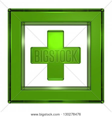 Green cross in the square isolated on white. 3D illustration.