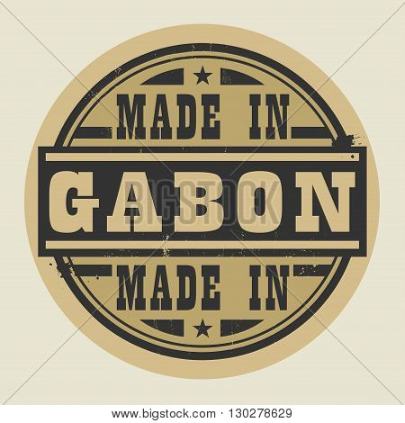Abstract stamp or label with text Made in Gabon, vector illustration