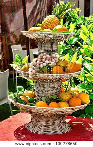 Fruits in the Basket in the Sicilian City of Palermo