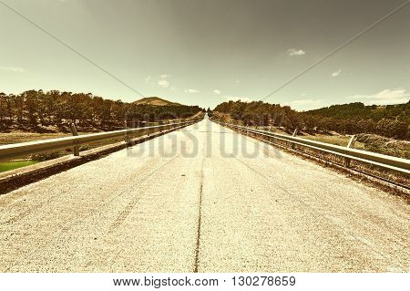 Straight Asphalt Road between Spring Forests of Sicily Retro Image Filtered Style