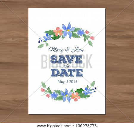 Save the date wedding invitation with watercolor flowers and typographic elements. Card template on a wooden background. Seamless illustrator swatch for back side included. Free fonts used - Nexa Rust, Alex Brush, Crimson