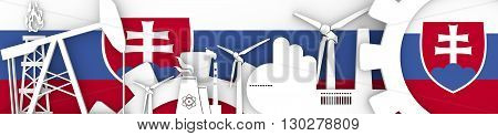 Energy and Power icons set. Header banner with Slovakia flag. Sustainable energy generation and heavy industry.3D rendering