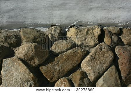 a picture of an exterior 1830's adobe building stone foundation