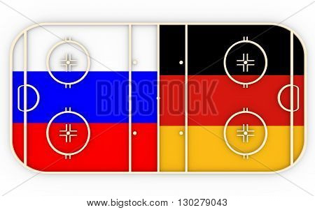 Russia vs Germany. Ice hockey competition 2016. National flags on playground. 3D rendering