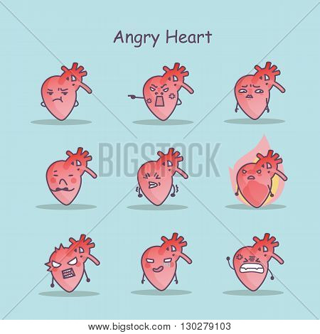 Angry cartoon Heart set great for your design