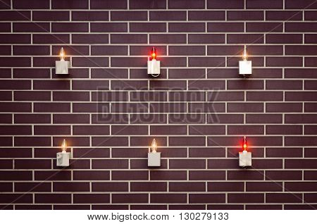 Interior design details patterned brick with lamps and bulb lights rustic decorative elements.
