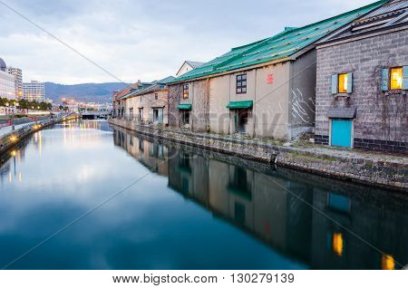 Warehouses along the Otaru canal in Otaru city Hokkaido Japan.