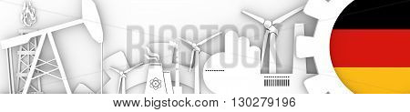 Energy and Power icons set. Header banner with Germany flag. Sustainable energy generation and heavy industry. 3D rendering