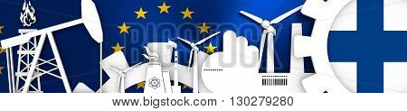 Energy and Power icons set. Header banner with Finland flag. Sustainable energy generation and heavy industry. European Union flag backdrop. 3D rendering