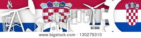 Energy and Power icons set. Header banner with Croatia flag. Sustainable energy generation and heavy industry. 3D rendering
