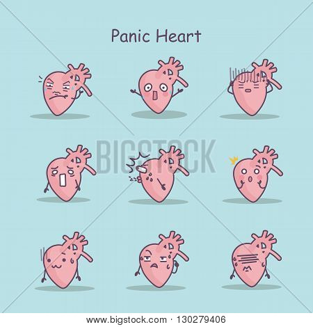 Panic cartoon Heart set great for your design and health care concept