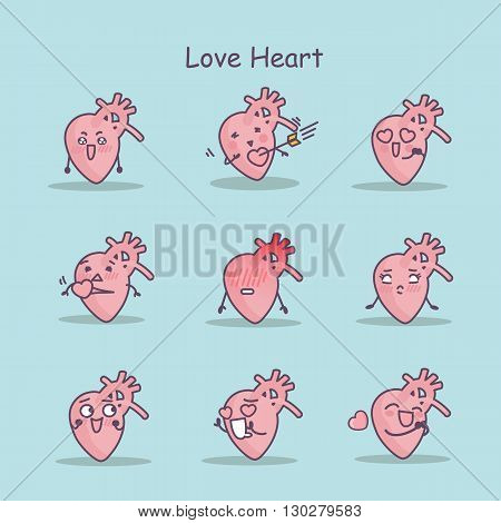 Love cartoon Heart set great for your design