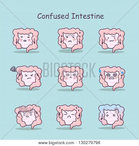 Confused cartoon Intestine set great for your design