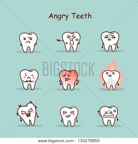 Angry cartoon tooth set great for your design
