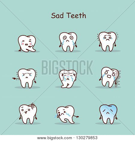 Sad cartoon tooth set great for your design