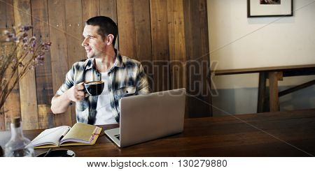 Casual Coffee Break Networking Searching Cafe Concept