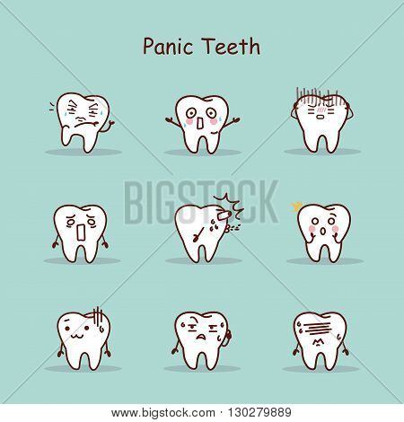 Panic cartoon tooth set great for your design